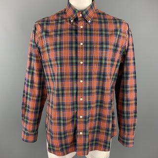 GITMAN VINTAGE Size XL Green & Orange Plaid Cotton Button Down Long Sleeve Shirt