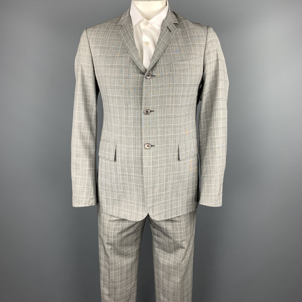 BLACK FLEECE Size 40 Grey Glenplaid Wool Notch Lapel Suit