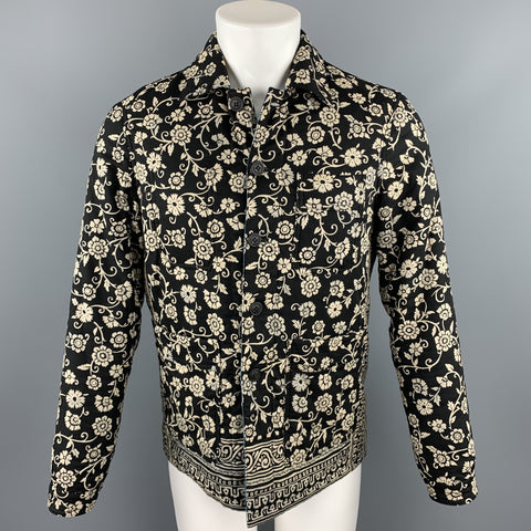 BURBERRY PRORSUM F/W 2015 Size 38 Navy & Beige Paisley Print Cotton Lined Buttoned Jacket