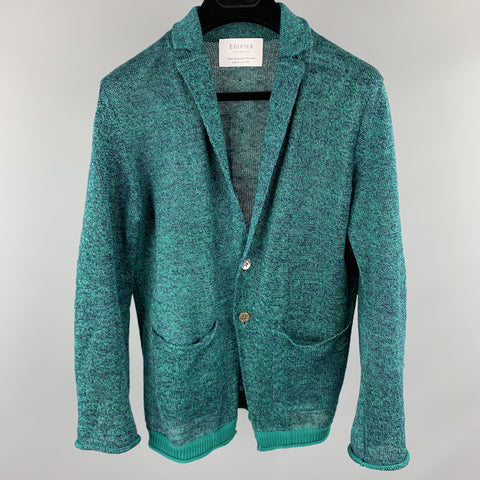 EDIFICE Size XS Teal Heather Knitted Linen Buttoned Pockets Cardigan Sweater