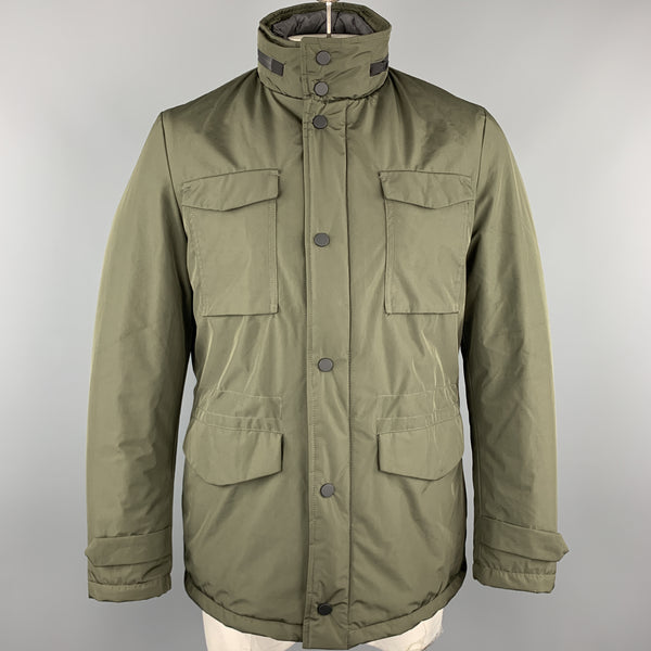 EREDI PISANO Size M Olive Green Padded Patch Pocket Winter Jacket