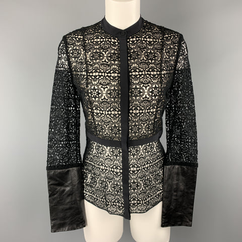 HONOR Size 2 Black Cotton Lace Leather Cuff Blouse