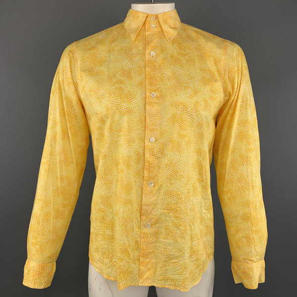 AGNES B. Size L Yellow Snake Skin Print Textured Cotton Button Up Long Sleeve Shirt
