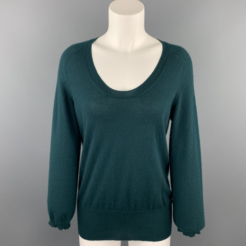 MARC JACOBS Size L Dark Green Knitted Cashmere Scoop Neck Sweater