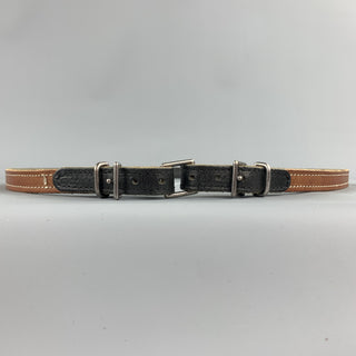 MAISON MARGIELA Size 40 Tan Contrast Stitch Leather Double Buckle Belt