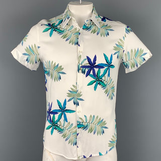 REISS Slim Fit Size L Cream & Blue Leaf Print Viscose Short Sleeve Shirt