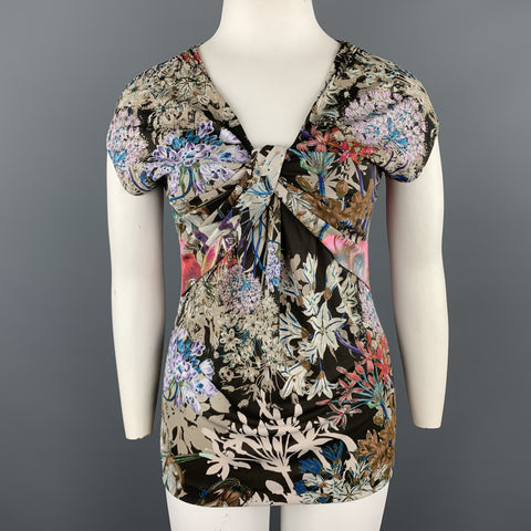 ETRO Size 12 Beige Multi-Color Floral Draped Jersey Blouse