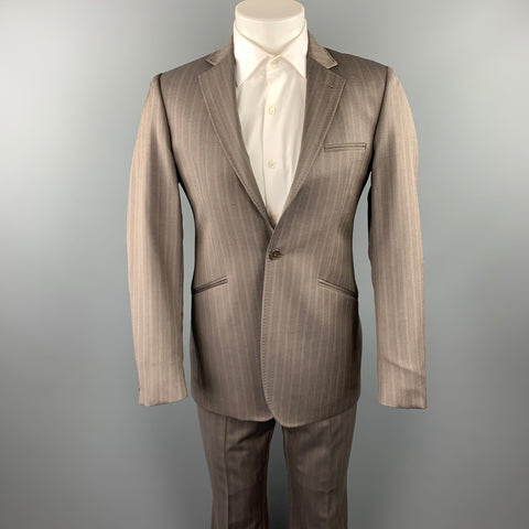 TED BAKER Size 38 Regular Taupe Stripe Wool Notch Lapel Suit