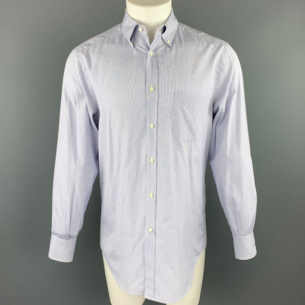 BRUNELLO CUCINELLI Size M Navy Window Pane Cotton Button Down Long Sleeve Shirt
