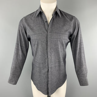 FENDI Size S Grey & Black Plaid Cotton Hidden Placket Long Sleeve Shirt