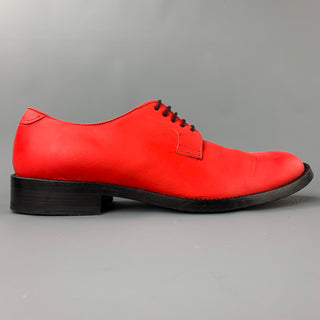 ACNE STUDIOS Size 9 Red Leather Cap Toe Lace Up Shoes