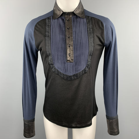 ROBERTO CAVALLI Size S Black & Navy Mixed Fabrics Buttoned Pullover