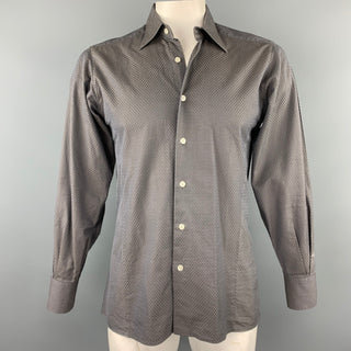 BRUCE FIELD Size L Dark Gray Textured Cotton Button Up Long Sleeve Shirt