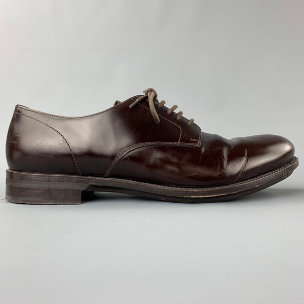 PRADA Size 11 Brown Leather Round Toe Dress Shoes