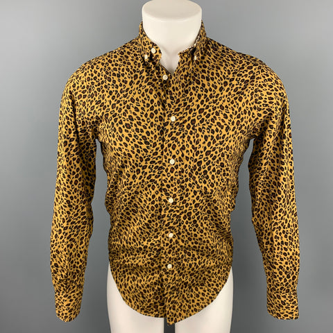 GITMAN BROS for OPENING CEREMONY Size S Tan Animal Print Cotton Button Down Long Sleeve Shirt