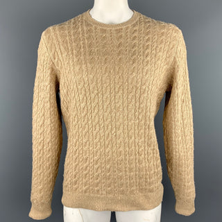 RALPH LAUREN Purple Label Size L Khaki Cable Knit Silk Blend Crew-Neck Sweater
