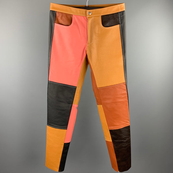 DANIEL W. FLETCHER F/W 2017 Size XS Tan & Pink Color Block Leather Casual Pants