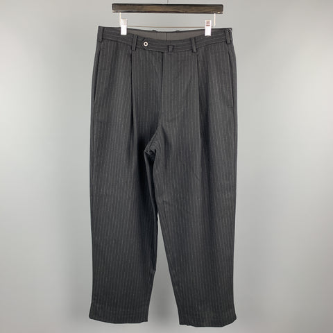 WILKES BASHFORD Size 34 Black & White Stripe Wool / Cashmere Pleated Dress Pants