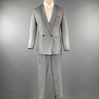 EMPORIO ARMANI Grey Houndstooth Size 36 Wool Double Breasted Suit
