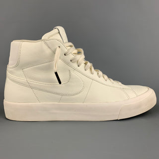 NIKE Size 10.5 Off White Leather High Top Blazer Sneakers