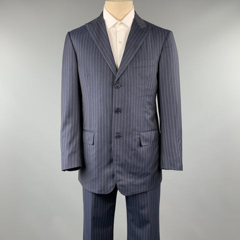 DAVID AUGUST Size 40 Navy & Gray Stripe Wool Peak Lapel 34 x 30 Suit