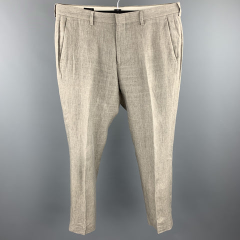 J. CREW Size 32 Taupe Linen Flat Front Dress Pants