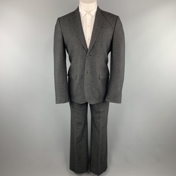 MARC JACOBS Size 38 Charcoal Textured Cashmere Notch Lapel Wide Leg Suit