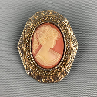 VINTAGE Gold Tone Cameo Pendant Brooch