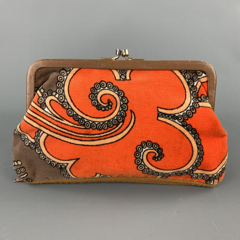 Vintage EMILIO PUCCI Orange Paisley Velvet Coin Purse