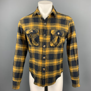 BAND OF OUTSIDERS Size S Navy & Yellow Plaid Cotton Long Sleeve Shirt