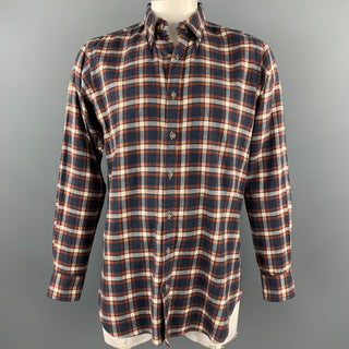 HAMILTON Size L Navy & Brick Plaid Brushed Cotton Button Down Long Sleeve Shirt
