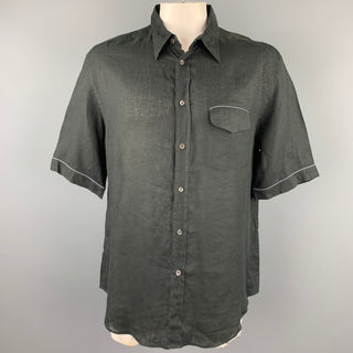 ARMANI COLLEZIONI Size XXL Black Linen Buttoned Short Sleeve Shirt
