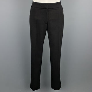 ALEXANDER MCQUEEN Size 2 Black Crepe Straight Leg Dress Pants