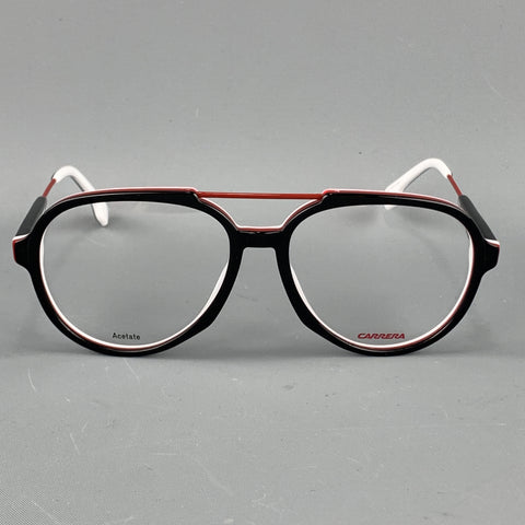 CARRERA Black White & Red Acetate & Metal Clear Lens Aviator Frames