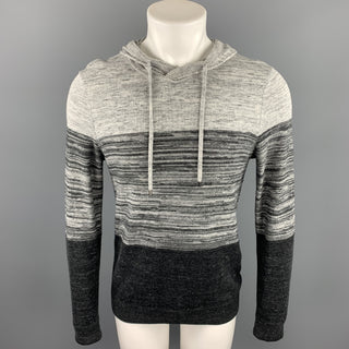 VINCE Size S Grey Color Block Cotton Blend Hoodie Pullover
