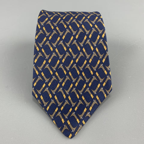 HERMES Print Navy & Brown Abstract Print Silk Tie 7147 FA