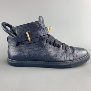 BUSCEMI Size 8 Navy Leather High Top Lace Up Sneakers