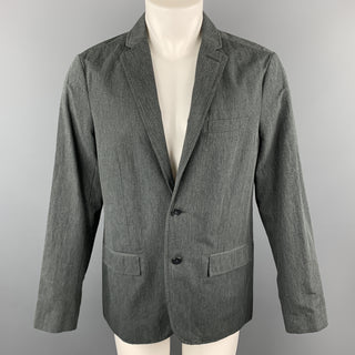 KENNETH COLE M Dark Gray Cotton / Linen Notch Lapel  Sport Coat