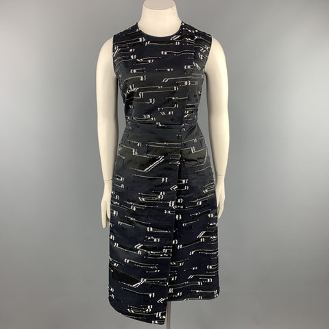 JIL SANDER Size 12 Navy & White Textured Sleeveless Cocktail Dress