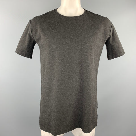 TRES BIEN Size L Charcoal Heather Viscose Blend Crew-Neck T-shirt