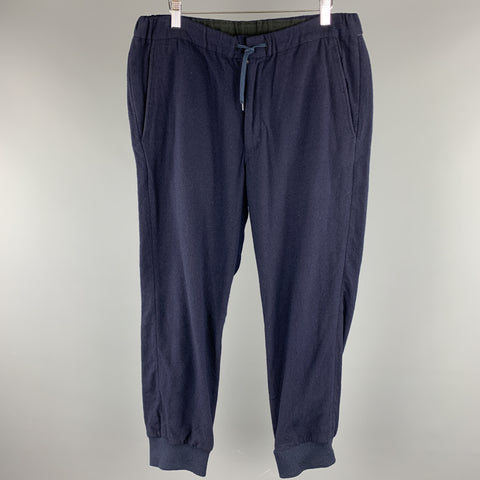 SAGE DE CRET Size L Navy Solid Wool Blend Casual Pants