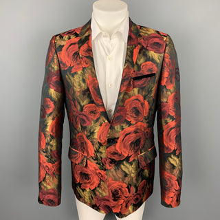 LORDS & FOOLS Size 44 Red & Gold Floral Polyester Notch Lapel Sport Coat