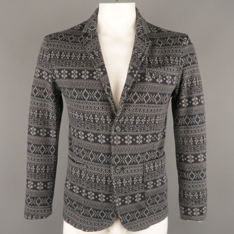 STILOSOPHY L Short Navy & Grey Fairisle Knit Notch Lapel  Sport Coat
