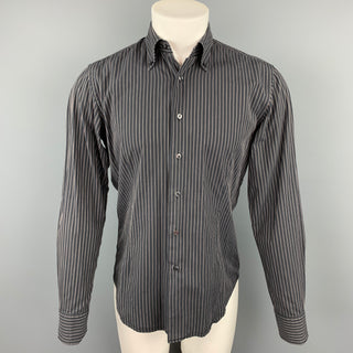 VALENTINO Slim Fit Size M Black Stripe Cotton Button Down Long Sleeve Shirt