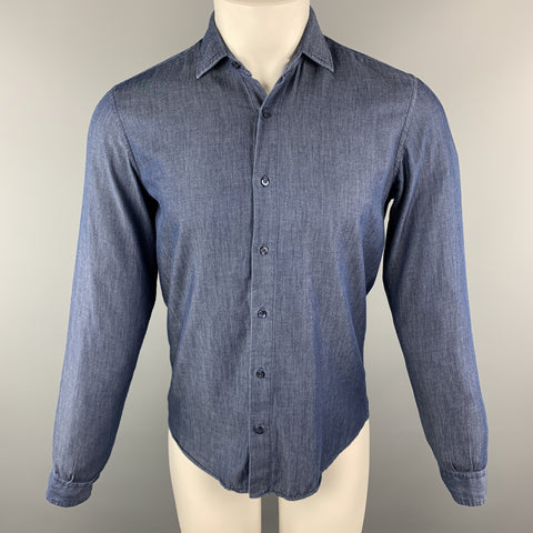 ETRO Size S Indigo Cotton Button Up Spread Collar Long Sleeve Shirt