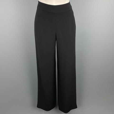 GIORGIO ARMANI Size 2 Black Silk Wide Leg Dress Pants