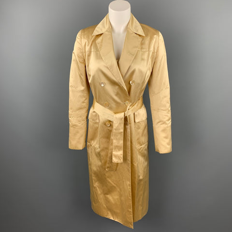 CAROLINA HERRERA Size 4 Gold Satin Silk / Cotton Double Breasted Belted 2 PC Dress Set