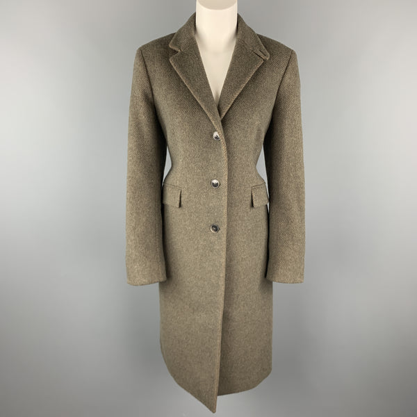 LUCIANO BARBERA Size 12 Muted Olive Wool Blend Coat