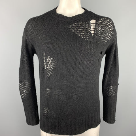 R13 Size XS Black Knitted Cashmere Distressed Creeper Sweater