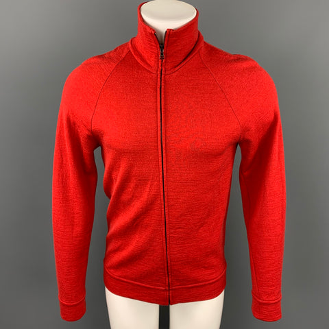 NICOLE FARHI Size M Red Wool Zip Up High Collar Pullover Sweater